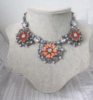 Wholesale brand ZA choker necklace fashion rhinestone flower statement necklace&pendants women vintage chunky necklace jewelry