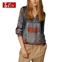 ECW NEW Women Blouse Long Sleeve Cotton Shirts Vintage Print Shirts  European Style Casual Women Shirt