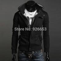 New Design 2014 Winter Mens Fashion Sweatshirt Slim Fit Hoodies Jacket Leisure Coat Black Gray Plus Size L XL 2XL 3XL Hot Sale