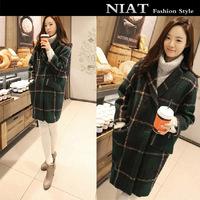 Wool outerwear wool coat female winter medium-long female wool overcoat green plaid outerwear