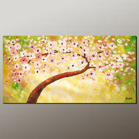 100% Hand Made Framed abstract oil painting elegant Warm pink flower Landscape painting canvas painting wall art home decoration