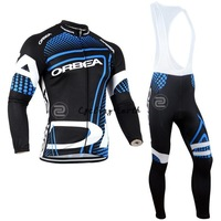 Free shipping! Orbea 2014 long sleeve autumn bib cycling wear clothes bicycle bike cycling jersey bib pants set+gel pad