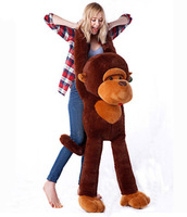 Hot Sales Stuffed Giant 110 cm/47'' Big Brown Plush Monkey Huge Soft 100% Cotton Doll Toy Free Shipping
