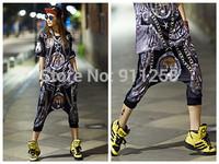 2014 New Fashion Stylish Animal Tiger Printing Women Hip Hop Street Dance Harem Shorts Casual Boots Capries Shorts FS3285