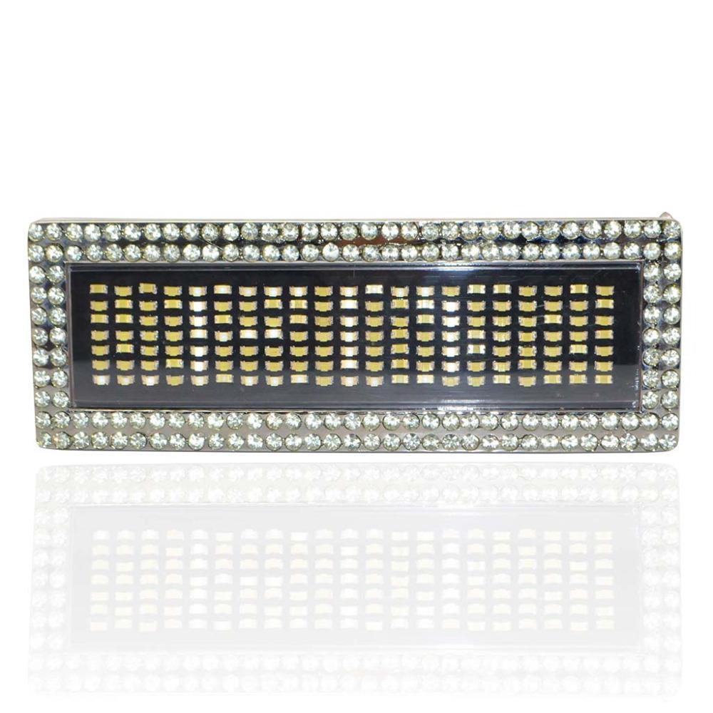 iKKEGOL Diamond DIY White Text Name Flash Chrome LED Scroling Belt Buckle DISC Party Gift(China (Mainland))