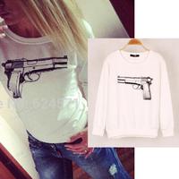 Winter Autumn Sweatshirts 2015 New Fashion Tracksuits Full Sleeve O Neck Gun Printed Sweatshirt Women Casual Pullover Tracksuit
