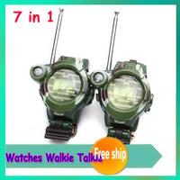 New 1 Pair 50~150M Watches Walkie Talkie 7 in 1 children watch walkie talkie camouflage style camouflage send with SG POST