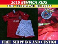 Soccer Jersey 14/15 Benfica kids home red Embroidery Logo 2015 Benfica children Football Kit free Send  custom