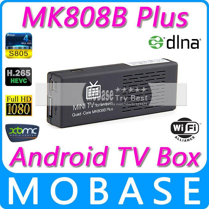 Original MK808B Plus Amlogic M805 Quad Core Android TV Box 1 G / 8 G wi fi H.265 decodificação de Hardware Bluetooth DLNA XBMC IPTV Smart TV(China (Mainland))