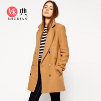 Vintage vintage preppy style overcoat autumn and winter woolen thickening cashmere woolen outerwear
