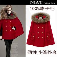 Wool wool coat outerwear women's plus size cloak woolen autumn and winter outerwear fashion