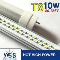 Wholesale AC85-265V High Brightness warm/nature/cold white Isolation driver SMD 10w LED Tube T8 600mm tube light Free shipping