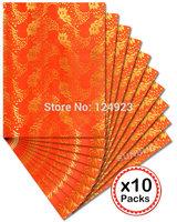 Free shipping African headtie sego Headtie gele Wraps HD251 orange gold 10 packs/ lot