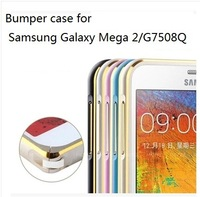 100 PCS/LOT Presium Al.alloy Bumper Case For samusng galaxy mega 2  G7508Q,Multi-color In Retail Packing,Free Shipping