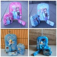 3 in 1 set frozen wheeled school bags with pencil case/meal package 3D frozen trolley bag frozen wheel bag backpack