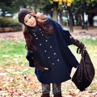 Hot selling women cloak coat navy blue half sleeve high neck double chested autumn winter coat