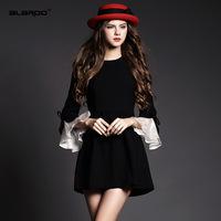 2015 spring End Elegant black dress women butterfly sleeve dress Spanish court style Slim dresses  clothed female