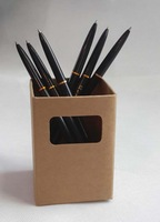 Size 7x7x10cm Brown kraft cardboard pen container creative office items environmental pen holder with window 25pcs/lot