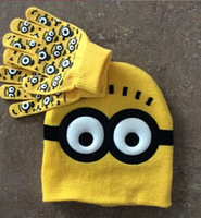 1set Free shipping baby boys 2014 Children Dave cartoon winter knitted hat and gloves children's cap set of winter children
