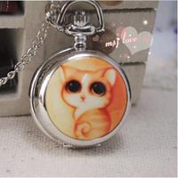 Wholesale 10 PCS/lot Unique design Lovely cat Enamel quartz watches silver Sweater chain gift Necklace pocket watch
