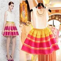 LSTnew ladies OL temperament shirt rainbow striped tutu suit H6666