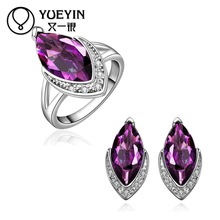 10sets/lotFVRS019 2015 new fine jewelry sets Extravagant Party jewlery set for lady Fashion Big Crystal set (Ring and earing)
