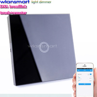 Wlansmart EU standard Remote Control Touch Dimmer Lamp Light Wall Smart Switch Luxury Crystal Glass Panel 110v-220v free ship