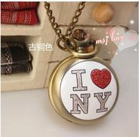 Vintage Design fashion Quartz enamel enamel watches Han edition sweater chain I love New York pattern pocket watches