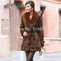 2014 Winter Women's Genuine Real Natural Rabbit Fur Coat Fox Fur Collar Lady Slim Outerwear Plus Size