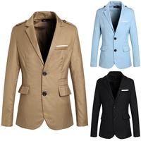 2015  New Men's fashion badges multi-pocket design Slim small suit   free shipping