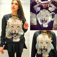 2015 Hot Selling,Women's Occident Girls' Street O-neck Leopard Hoodie,Fleece Couple Sweatshirt,100% Best Quality,Size S/M/L