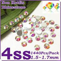 Super Shiny 1440PCS SS4 (1.5-1.6mm) Clear Glitter Non Hotfix Crystal Color 3D Nail Art Decorations Flatback Rhinestones
