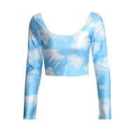 Brazil Style Women T shirt Long Sleeve O-Neck Sexy Fashion Print Blue Stky Short Tops KB422