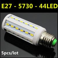 Ultrabright SMD 5730 LED Lamp E27 44leds 14W AC220V-240V Warm White/White Corn Bulb Light For Christmas decoration 5pcs/lot