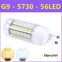 2014 Hot High brightness SMD 5730 Energy Saving LED Lamp G9 12W AC 220V-240V 56leds Warm White/White Corn Bulb Light 10pcs/lot