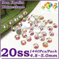 Super Shiny 1440PCS SS20 (4.8-5.0mm) Glitter Non Hotfix Crystal White AB Color 3D Nail Art Decorations Flatback Rhinestones