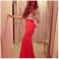 New Ladies Formal Red Clubwear Party Maxi Dress Elegant Hollow Bandage Chiffon Vestidos Longos Women Sexy Lace Dresses FK657546