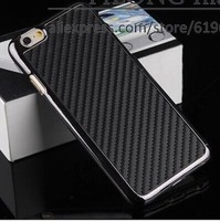 "Free Shipping 150pcs/lot  Carbon Fiber Pattern PU Leather Plastic Hard Back Cover  Phone Bag For iphone6 4.7"" Wholesale"