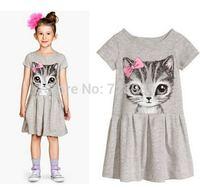 2014 new summer girl dress cat print grey girl dress children clothing children dress 3-10years free shipping