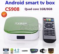 whole sale 2014 NEW android tv box CS908 Quad Core Allwinner A31S 1G+8G Android 4.2.2 Smart TV Box Wifi HDMI RJ45 XBMC DLNA