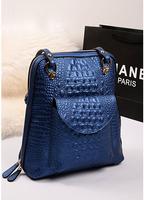 New Fashion backpacks Vintage crocodile embossing genuine cowhide leather fashion causal bags coffee shool bags Women's