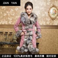 2014 new Ladies' Genuine Pig Leather Coat Jacket Fox Fur Collar Winter Women Fur Warm Outerwear Coats Plus Size