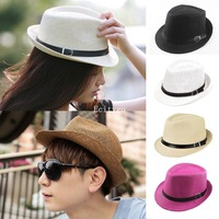 Unisex Fedora Straw Hats Wide Brim Trilby Cap Solid Color Sun Hats Summer Casual Sunhat with Drop Shipping A1 fx306