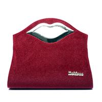 2014 autumn and winter women's shaping horsehair handbag fashion bags hard Wine red bridal bag