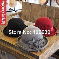 2014 winter new vintage wool felt fedora hats for women, lady dress bowler hat, chapeu fedora, derby hat, free shipping