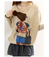 2014 plus size clothing the trend of fashion vintage all-match loose batwing sleeve little girl knitted sweater