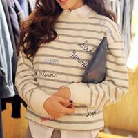 9088 2014 autumn and winter letter nanda o-neck stripe pullover sweater