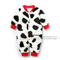 2015 new fashion spring and autumn original baby boys cow cute fleece designer romper newborn boy long-sleeve one-piece