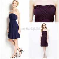 Custom Size Knee-Length Bridesmaid Dress Chiffon Ruffled A-line zipper Formal Guests' Dresses 2014 Wedding party dresses