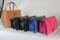 Luxury Bag:Geometric Embosses Mini Genuine Leather Shoulder Bag Fashion Women Totes With Chain